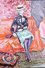 EMILE SABOURAUD (1900-1995) Femme au canapé  Huile sur toile Sign