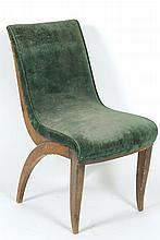 PIERRE LAHALLE & GEORGES LEVARD (attribué à)  Précieuse chauffeuse de salon en hêtre teinté.