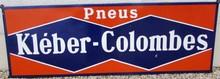 Plaque émaillée Pneus Kleber Colombes, 195 x 66 cm.