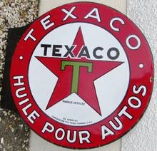 Plaque émaillée Texaco, diam 58 cm, double-faces.