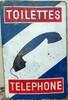 Plaque émaillée Toilettes Téléphone, double-faces, 60 x 90 cm.