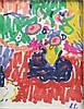 Emile SABOURAUD (1900-1996) Nature morte au bouquet Dessin au feutre de couleur Monogrammé en bas à droite 13 x 10 cm