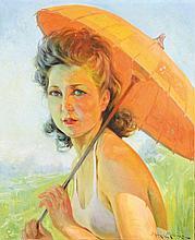 Maurice MILLIERE (1871-1946) Femme à l'ombrelle Huile sur toile Signée en bas à droite 46 x 38 cm