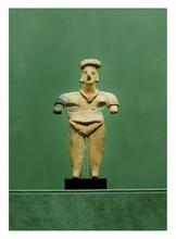 Mexique Colima, Proto classique 150 avant -200 après J.-C.   GUERRIER. Terre cuite.  H. 14 cm