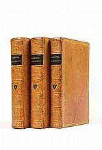MARMONTEL Jean-François. Contes Moraux. Paris, J. Merlin, 1765 , 3 vol. in-8, reliures du début du XIXe siècle, veau blond glacé, roulette dorée en encadrement sur les plats, dos lisses ornés, pièces brunes, tranches dorées (P. Lefebvre). Premier