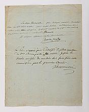 BONAPARTE (Napoléon). Pièce autographe signée « Buonaparte ». [Corse], s.d. 5 lignes sur une p. in-4 sur papier vergé azuré filigrané « Al. Ponte » et armoiries au cor avec initiales « G L C ». De la main de Napoléon Bonaparte : « Le citoyen