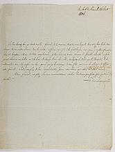 [JOSÉPHINE]. - TASCHER DE LA PAGERIE (Rose-Claire Des Vergers de Sannois, madame de). Lettre signée au capitaine général de La Guadeloupe le général Jean-Augustin Ernouf. Fort-de-France, 15 août 1805. 1/2 p. in-4, adresse au dos, infimes rousseurs