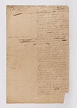 FOUCHÉ (Joseph). Minute autographe signée « le duc d'Otrante », d'une lettre adressée en qualité de chef du Gouvernement provisoire au duc de Wellington. Paris, 27 juin 1815. 2 pp. in-folio, ratures et corrections, quelques fentes dont une restaurée,