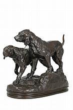 Charles VALTON (1851-1918) Deux chiens Bronze à patine brune signé sur la terrasse 26 x 29 x 15,5 cm