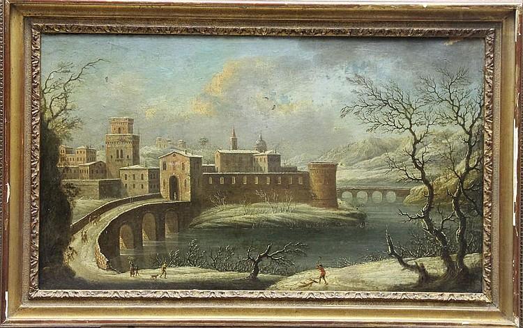 Attribué à Johann Oswald HARMS  (1643 - 1708) Entrée d'une ville enneigée au bord d'une rivière  Toile  43,5 x 74 cm Manques et restaurations anciennes   Expert : Cabinet Turquin