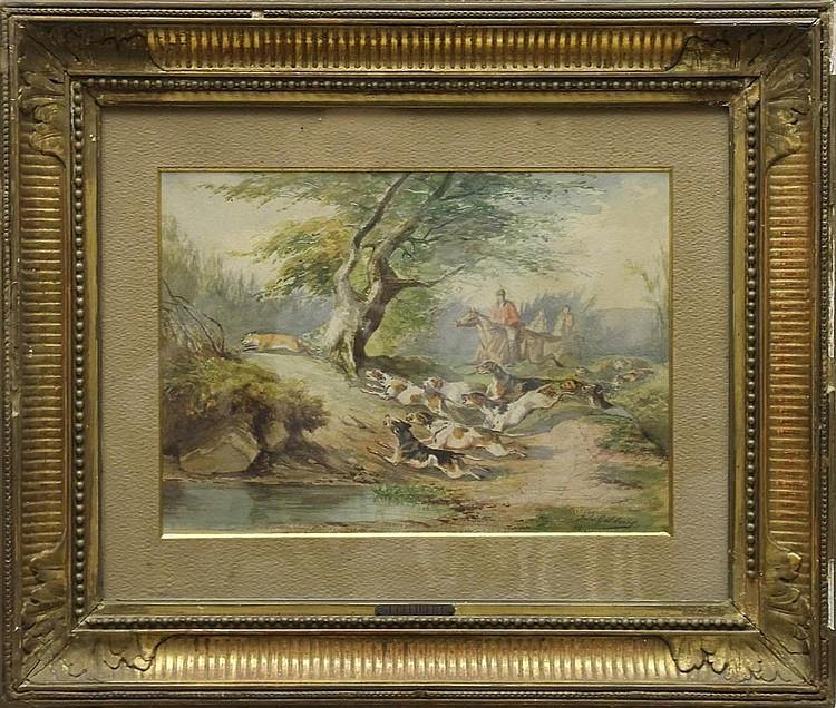 Jules GELIBERT (1834-1916) La chasse au renard Aquarelle signée en bas à droite et datée 64 23 x 31 cm (à vue)