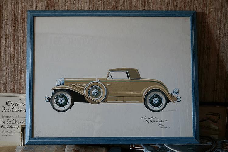 Pierre Dumont (1920/1987), gouache originale représentant un cabriolet Duesenberg type J à carrosserie Murphy, offerte et dédicacée par l'auteur à Lucien Loreille 'Très, très, très amicalement
