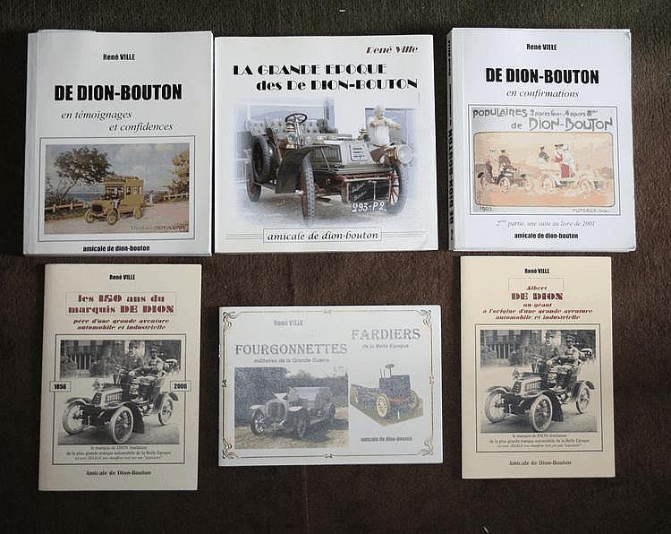 De Dion Bouton, lot comprenant 3 livres édités par l'Amicale De Dion Bouton, tous dédicacés par l'auteur René Ville (président du Club), on y joint 3 fascicules sur la marque.