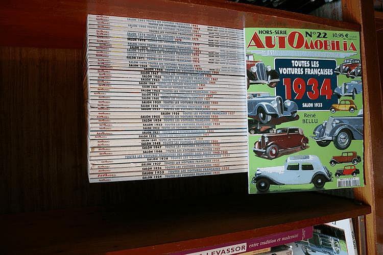 Toutes les Voitures françaises, collection hors série d'Automobilia, éd Histoire & Collections du Salon 1919 au salon 1983, 44 numéros.