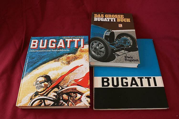Bugatti - Dokumentation einer Automobilmarke, par Hucke, Monika & Uwe, 1976, Die Geschichte der Bugatti-Automobile, par Hucke, Monika & Uwe, 1970, avec dédicaces des auteurs le 30/09/1972 Das Grosse Bugatti Buch, par Tragatsch, Erwin, 1983.