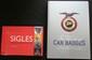 Lot de 2 livres : « Sigles, Histoire des marques automobiles dans le monde » et « The world of car badges ».