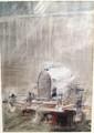 Lithographie de Paul Bouvot représentant une Bugatti Grand Prix,  70 x 100 cm.