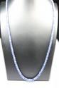 COLLIER composé de perles de saphirs en chute, le fermoir en argent.poids brut: 14 g