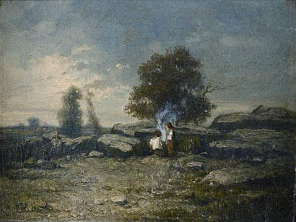 Louis-Nicolas CABAT - Paysage aux enfants