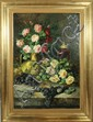 BRUNNER Julienne (XX)  Nature morte aux fleurs et fruits Huile sur toile Signée en bas à droite et daté 1903 94 x 60 cm (petite restauration)