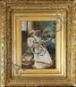 T.  GONTI Elegante aux fleurs Huile sur panneau Signé en bas à droite 33x 23,5 cm