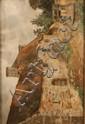 A.  SIBIEN, XIXe Cour de ferme au puits  Huile sur carton Signé en bas à gauche et daté 35,5 x 53 cm
