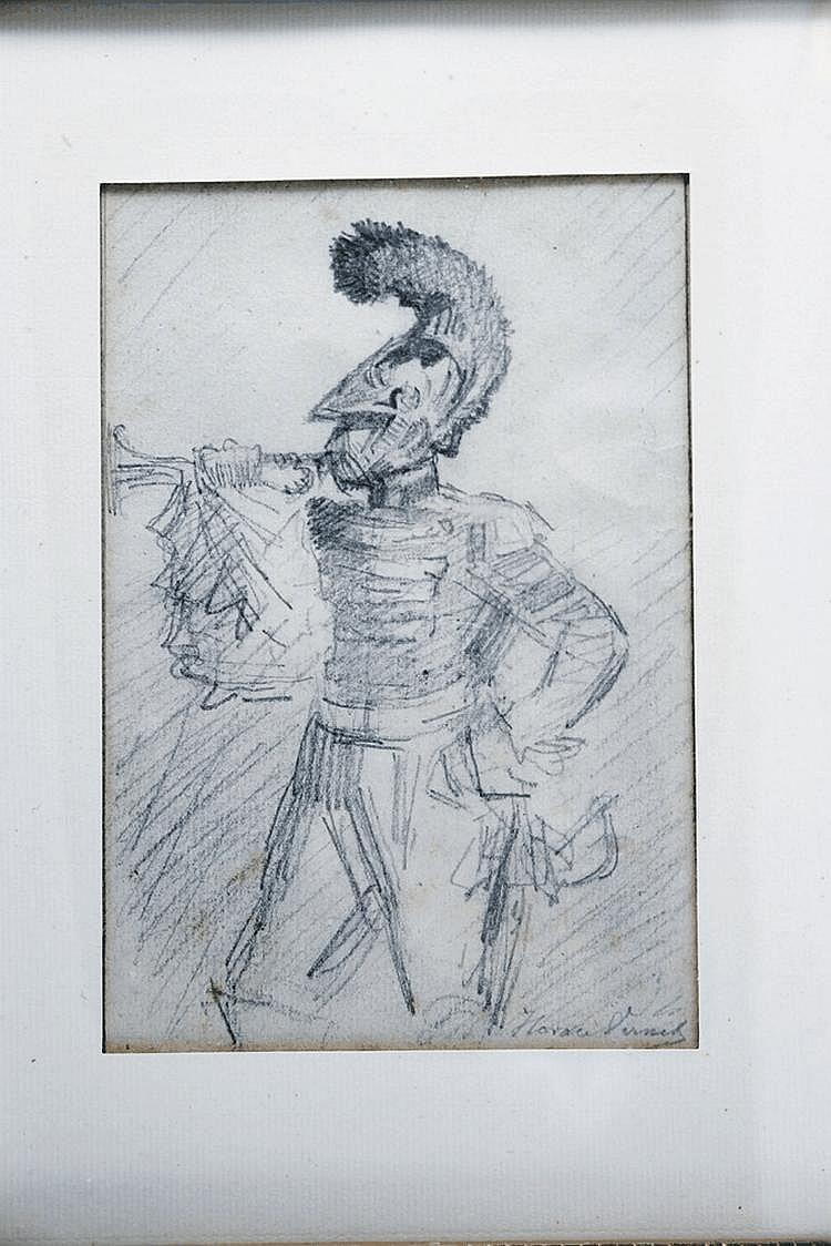 HORACE VERNET (1789-1863) 211. ECOLE FRANÇAISE DU DEBUT DU XIXE SIECLE « TROMPETTE DE CARABINIER EN ¾ DE PROFIL. » LE MARECHAL JOSF ANTONI PONIATOWSKI EN PIED ETUDE AU CRAYON NOIR ET CRAYON GRAS. AQUARELLE ET GOUACHE NAÏVE SUR PARCHEMIN, SIGNEE