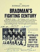 Don Bradman Signed Magazine page with headlines