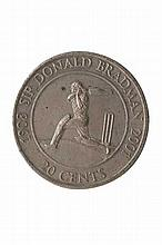 20 c Silver colured coin featuring Bradman. Size:
