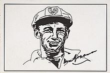 Autographed B/w pencil sketch on post-card of