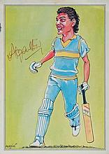 Signed ColourCaricature Greetings Card of Mohd. Azaharuddin
