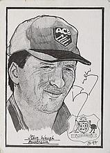Signed B/W sketch of Steve Waugh