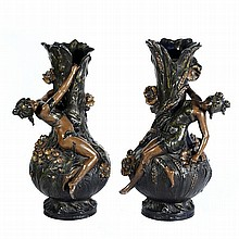 A PAIR OF AUGUSTE MOREAU (1834-1917) VASES