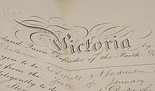 Queen Victoria autograph on warrant, signed
