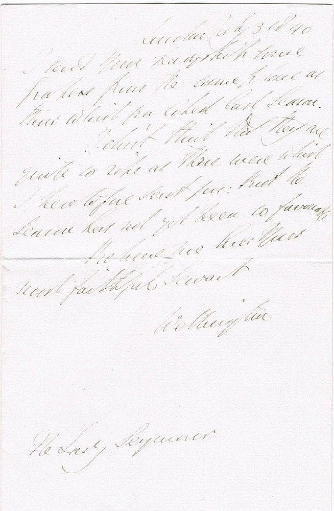 Wellington, Duke of: Handwritten letter to Lady Seymour