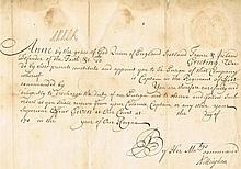 Queen Anne autograph on historical document