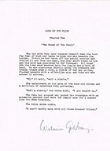 Golding, William: Autographed Lord of the Flies page, signed