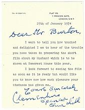 Churchill, Clementine: Letter to Richard Burton (with copy of his reply)