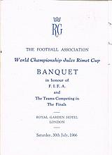 1966 England World Cup autographed menu, signed