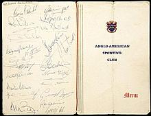 1966 England World Cup Squad autographed Boxing dinner menu, signed