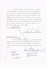 Monroe, Marilyn: Autographed legal document, signed