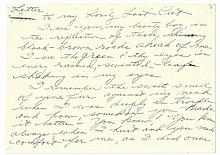 Taylor, Elizabeth Handwritten letter to her cat