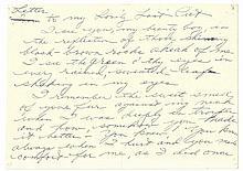 Taylor, Elizabeth Handwritten letter to her cat