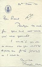 Thatcher, Margaret: Handwritten letter to Richard Marsh, signed