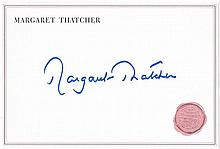 Thatcher, Margaret: Autograph on card, signed
