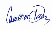 Diaz, Cameron: Autograph on card, signed