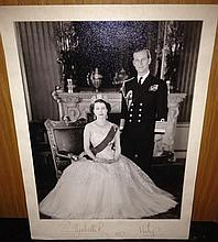 Queen Elizabeth and Prince Philip autographed photograph, signed