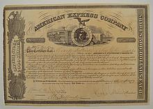 William Fargo & Henry Wells Autographed Stock Certificate