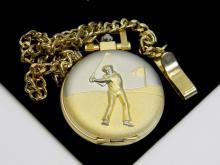 Goldtone Golfers Pocket Watch W/ Chain