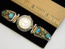 Sterling Silver Gold Filled Turquoise Watch Tips